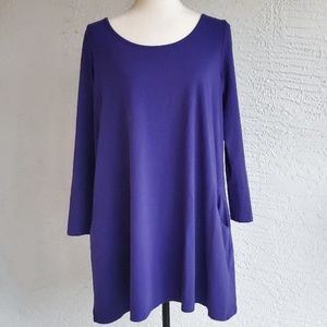 Purple Shift Dress with Pockets